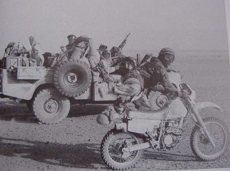 S.A.S. Land Rover with outrider 1st Gulf War 1991
